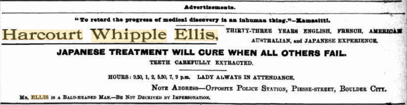 Advertisement for Harcourt Whipple Ellis 23 March 1902