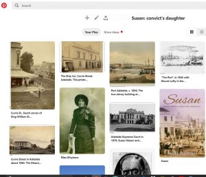 Screen shot of Pinterest Board for Susan: convict's daughter
