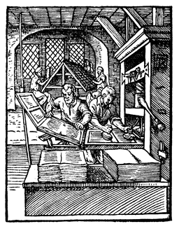 Printers at work in 1568. Early woodcut. Public domain. Publishing has changed since then.