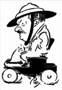 Cartoon of Dr Davy in a pith helmet driving his motor car.