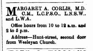 Advertisement for Dr Margaret Colis in the Coolgardie Mining Review, 28 December 1895