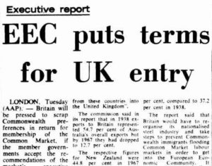 Canberra Times report on UK entry to the EEC