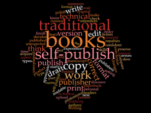 Word art about traditional publishing versus self-publishing