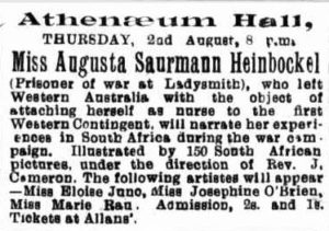 Advertisement for lecture given by Miss Augusta Saurmann Heinbockel at the Athenaeum in Melbourne.