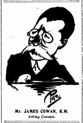 Cartoon of Mr James Cowan by Pas, 10 Mar 1907